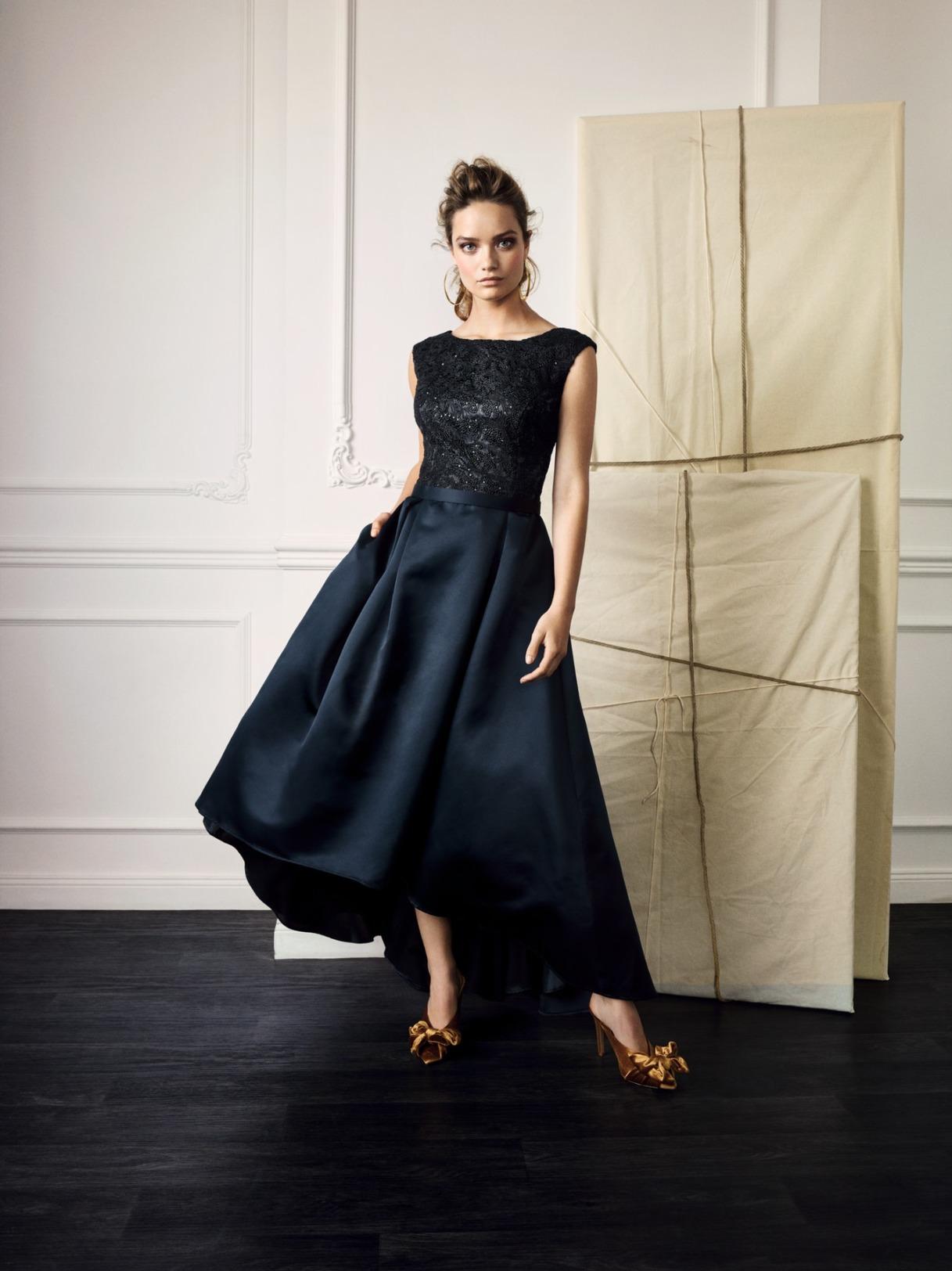 Vera Mont Kleid Anlass Mode Hochzeit Festmode Damen für Eltern dunkelblau blau navy glitzer Abendkleid festlich,
