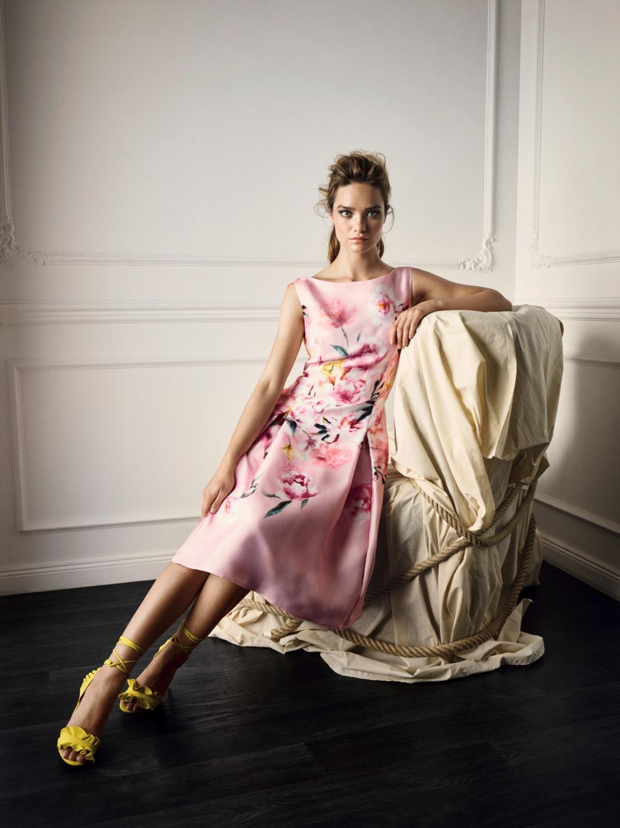 Vera Mont Kleid Anlass Mode Hochzeit Festmode Damen für Eltern Blumendruck rose kurz