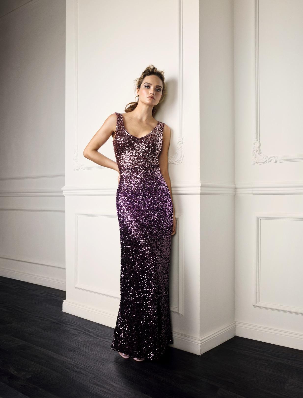 Vera Mont Kleid Anlass Mode Hochzeit Festmode Damen für Eltern mit V-Ausschnitt Pailetten glitzer Abendkleid festlich rose lila
