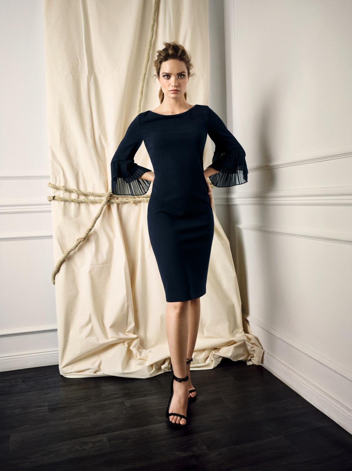 Vera Mont Kleid Anlass Mode Hochzeit Festmode Damen für Eltern mit Arm kurz dunkelblau navy blau