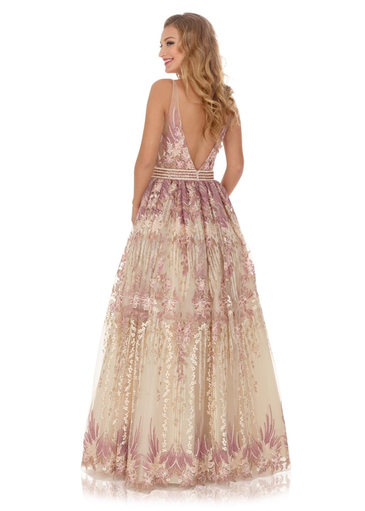 Schützenfest Königinnenkleid Hofdamen Hofstaat Kleid V-Ausschnitt Rücken rose blumen