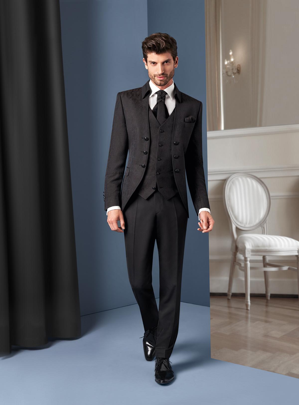 Wilvorst Tziacco Hochzeitsanzug Männer Mode Bräutigam extravagant schwarz mit Musterung Klappkragen mit Weste in schwarz weisses Hemd