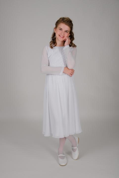 Weise Kinder Kommunion Mode Kleid Mädchen weiß aus Chiffon siebenachtel Länge mit langen Chiffonärmeln