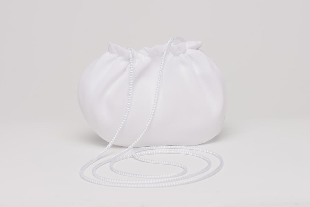 Weise Kinder Kommunion Mode Tasche Beutel zum Kleid weiß mit Satinband