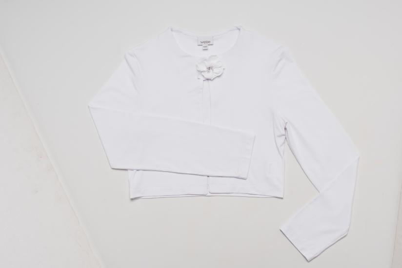 Weise Kinder Kommunion Mode Kleid Mädchen weiß Jersey Bolero Jacke mit langem Arm und Blüten Applikation