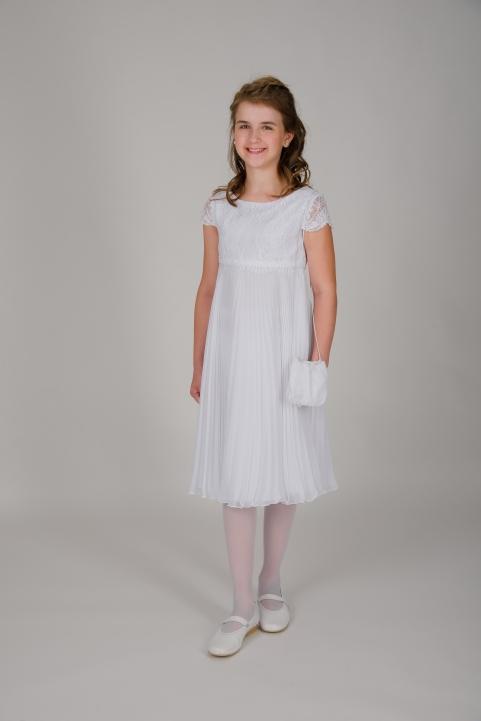 Weise Kinder Kommunion Mode Kleid Mädchen weiß plissierter Faltenrock Spitzenoberteil  mit kleinem Ärmel dreiviertel Länge mit passender Tasche