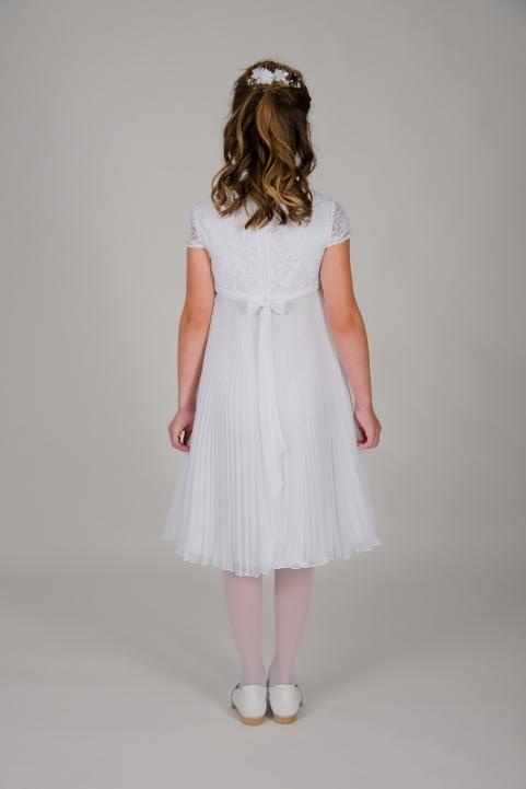 Weise Kinder Kommunion Mode Kleid Mädchen weiß plissierter Faltenrock Spitzenoberteil  mit kleinem Ärmel dreiviertel Länge Rückansicht