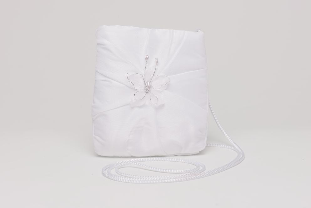 Weise Kinder Kommunion Mode Tasche Beutel zum Kleid weiß mit Sationband und kleinem Schmetterling aus Perlen