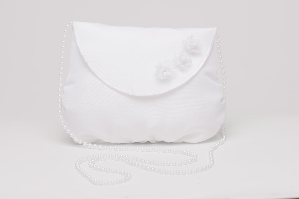 Weise Kinder Kommunion Mode Tasche Beutel zum Kleid weiß mit Perlen und kleinen Blüten