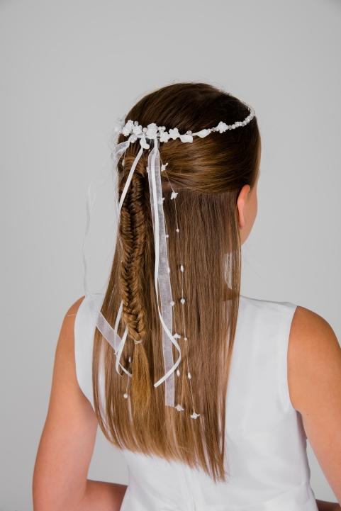 Weise Kinder Kommunion Mode Kränzchen Haarschmuck Mädchen weiß kleine Blüten und lange Bänder