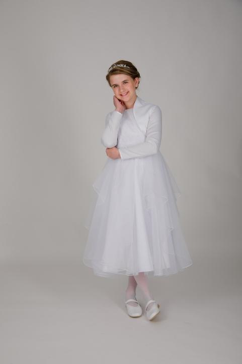 Weise Kinder Kommunion Mode Kleid Mädchen weiß weiter Tüllrock siebenachtel Länge mit passender Bolero Jacke