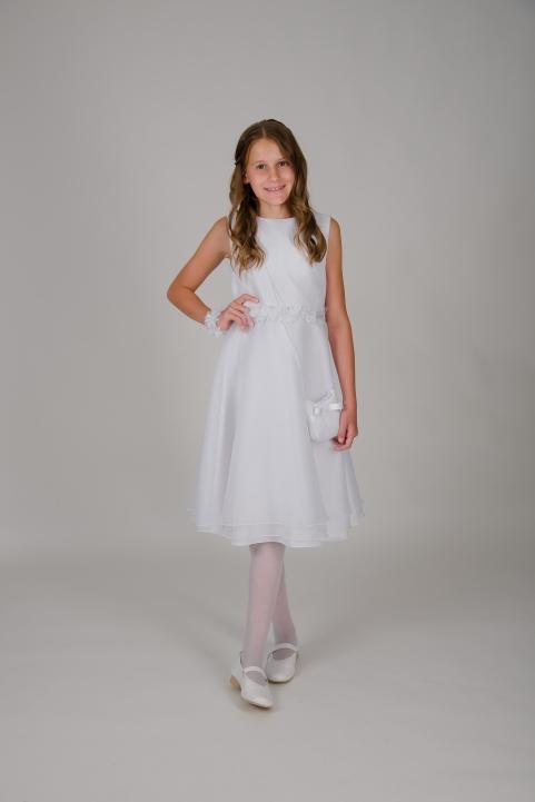 Weise Kinder Kommunion Mode Kleid Mädchen weiß aus Chiffon kurz mit Blüten Applikation in Taille Tasche und Blüten Armband