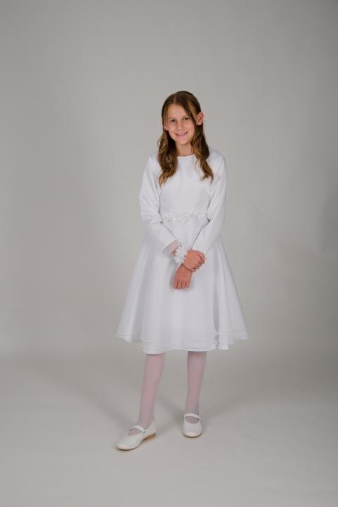 Weise Kinder Kommunion Mode Kleid Mädchen weiß aus Chiffon kurz mit Blüten Applikation in Taille passende Bolero Jacke weiß