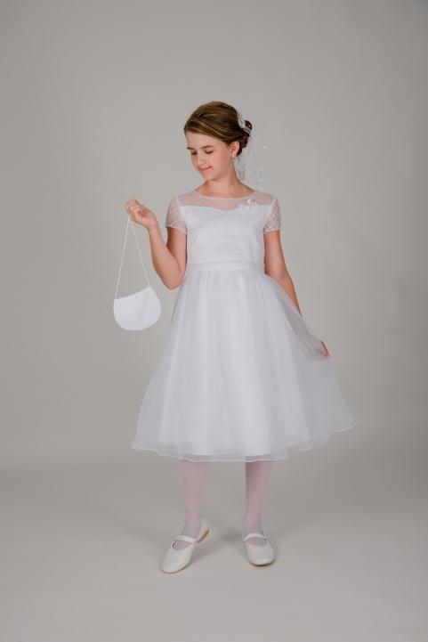 Weise Kinder Kommunion Mode Kleid Mädchen weiß mit kleinem Ärmel aus besticktem Organza dreiviertel Länge weiter Rock mit passender Tasche