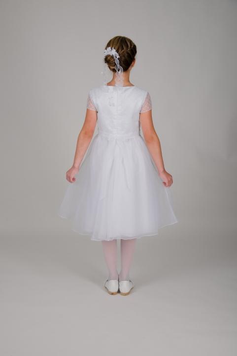 Weise Kinder Kommunion Mode Kleid Mädchen weiß mit kleinem Ärmel aus besticktem Organza dreiviertel Länge weiter Rock
