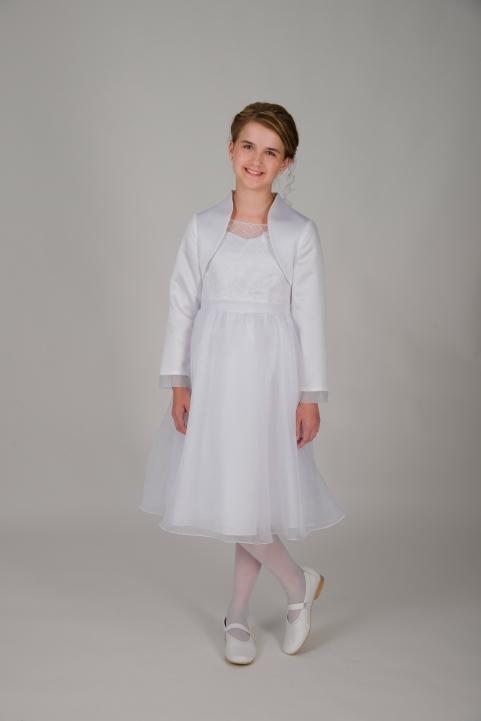 Weise Kinder Kommunion Mode Kleid Mädchen weiß dreiviertel Länge Organza Rock mit Taillengürtel Bolero Jacke weiß mit Organzaabschluss am Ärmel