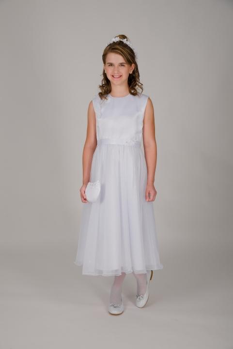 Weise Kinder Kommunion Mode Kleid Mädchen weiß ohne Ärmel glitzer Tüllrock mit Taillengürtel mit Blume