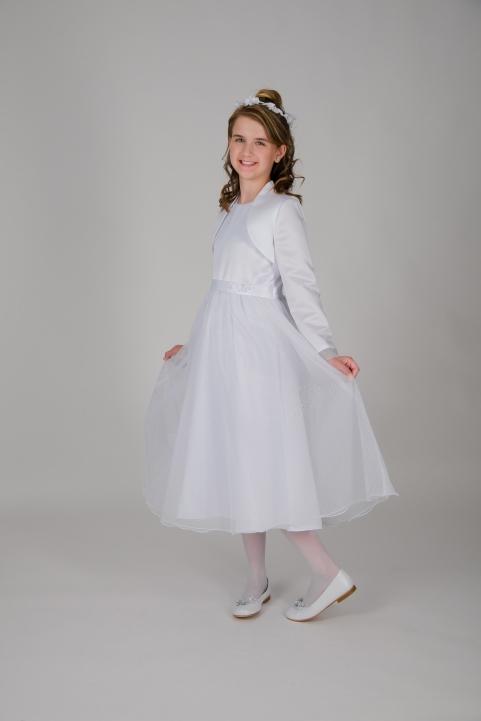 Weise Kinder Kommunion Mode Kleid Mädchen weiß ohne Ärmel Organza Rock mit Taillengürtel mit Blume siebenachtel Länge mit Satin Bolero Jacke