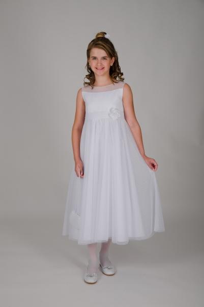 Weise Kinder Kommunion Mode Kleid Mädchen weiß ohne Ärmel Organza Rock mit Taillengürtel mit Blume siebenachtel Länge
