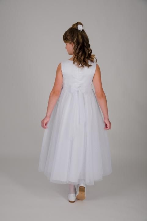Weise Kinder Kommunion Mode Kleid Mädchen weiß ohne Ärmel Organza Rock mit Taillengürtel mit Blume siebenachtel Länge Rückenansicht