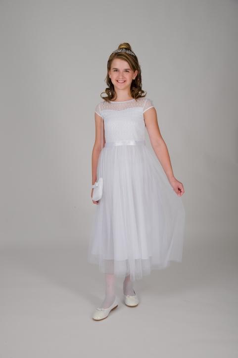 Weise Kinder Kommunion Mode Kleid Mädchen weiß mit kleinem Ärmel aus Spitze Tüllrock mit Satin Taillengürtel passende Tasche