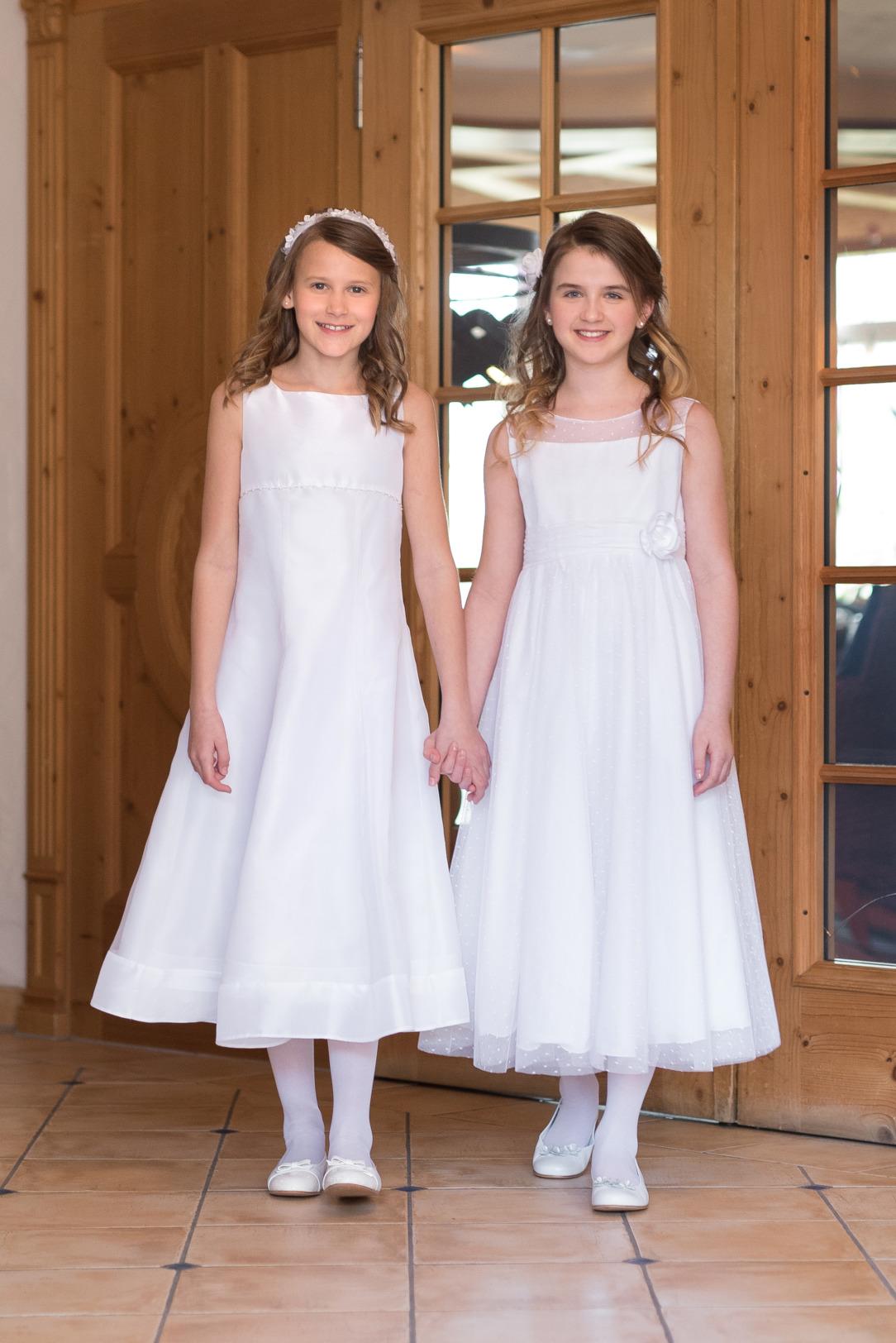 Weise Kinder Kommunion Mode Kleid Mädchen weiß Chiffon und Organza siebenachtel Länge ohne Ärmel