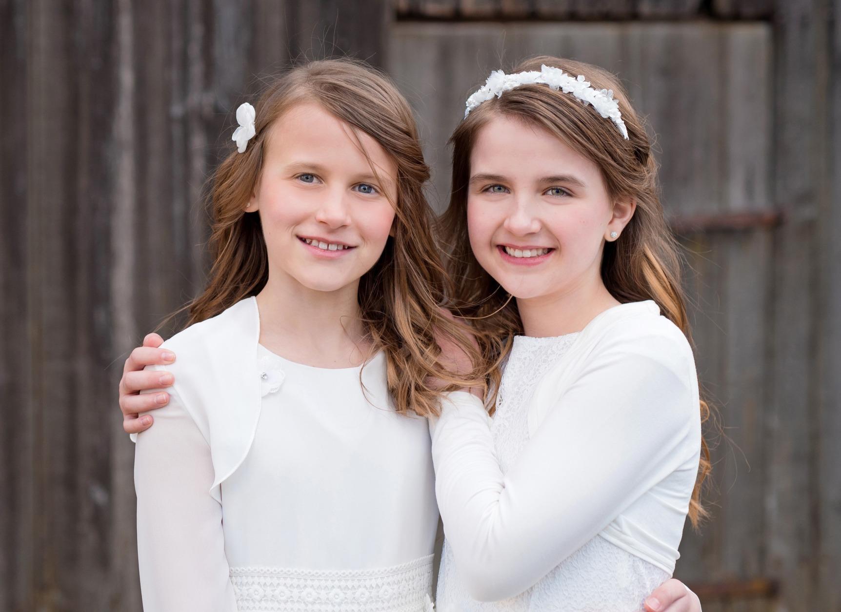 Weise Kinder Kommunion Mode Kleid Mädchen weiß mit Jäckchen Chiffon und Satin