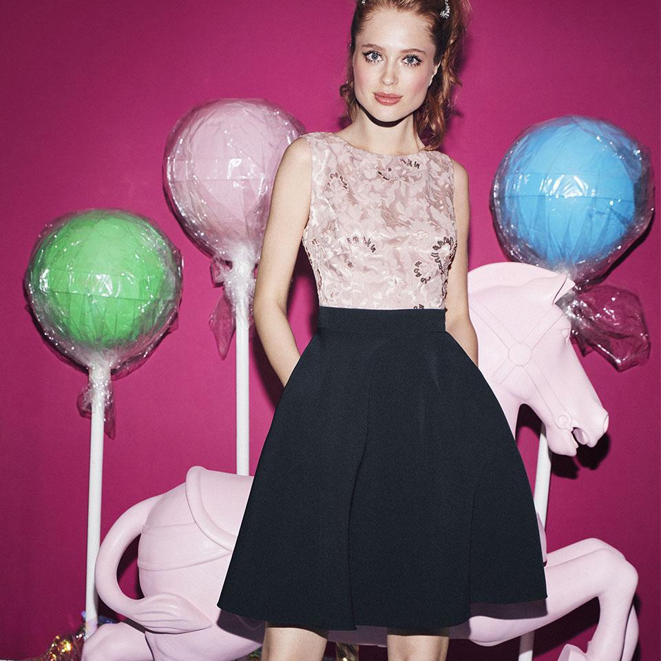 Abiball Konfirmation Abendkleider Ballkleider schön ausgefallen jung kurzer rock dunkelblau rose Oberteil mit glitzer