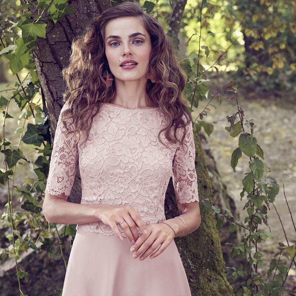 Anlass Kleid Damen Eltern Kommunion Konfirmation Abiball Festmode für Damen Vera Mont Spitzenärmel rose