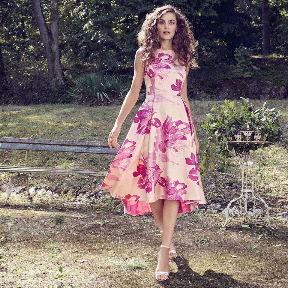 Anlass Kleid Damen Eltern Kommunion Konfirmation Abiball Festmode für Damen Vera Mont Blumendruck pink rose knielang modern
