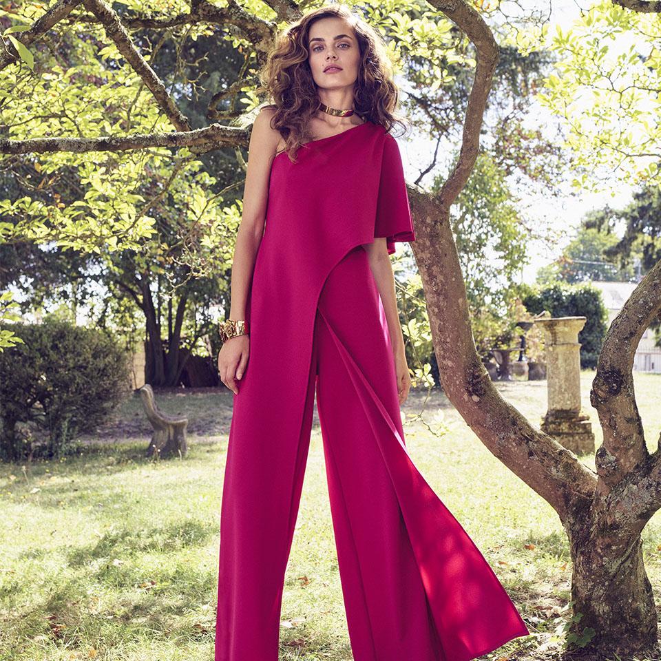 Anlass Kleid Damen Eltern Kommunion Konfirmation Abiball Festmode für Damen Vera Mont Jumpsuit Hosenanzug rot pink modern