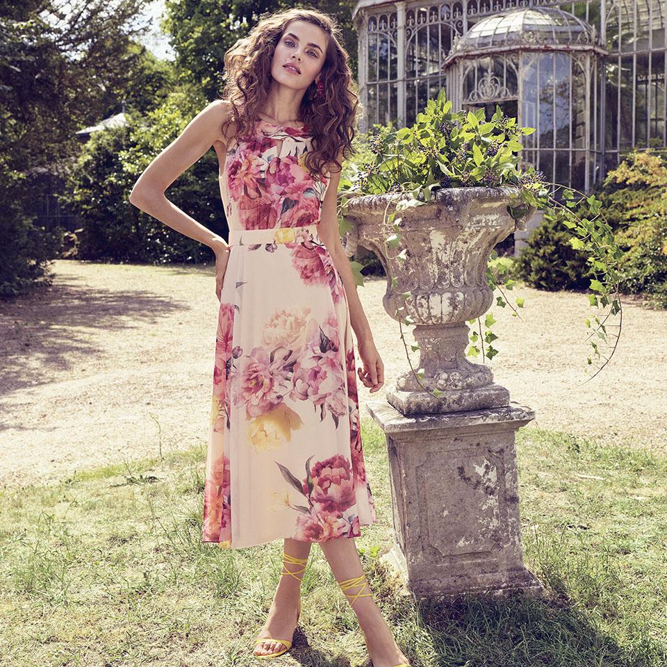 Anlass Kleid Damen Eltern Kommunion Konfirmation Abiball Festmode für Damen Vera Mont Blumendruck lang