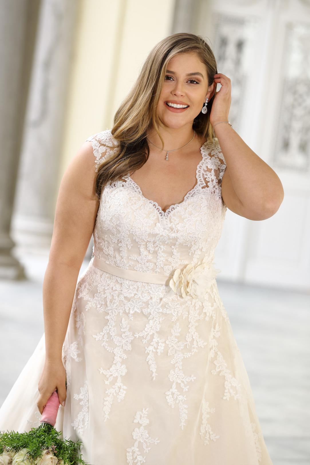 Brautkleider Hochzeitskleider Mode A Linie Ladybird mit V-Ausschnitt Spitze ohne Ärmel grosse Grösse plus size Nahaufnahme