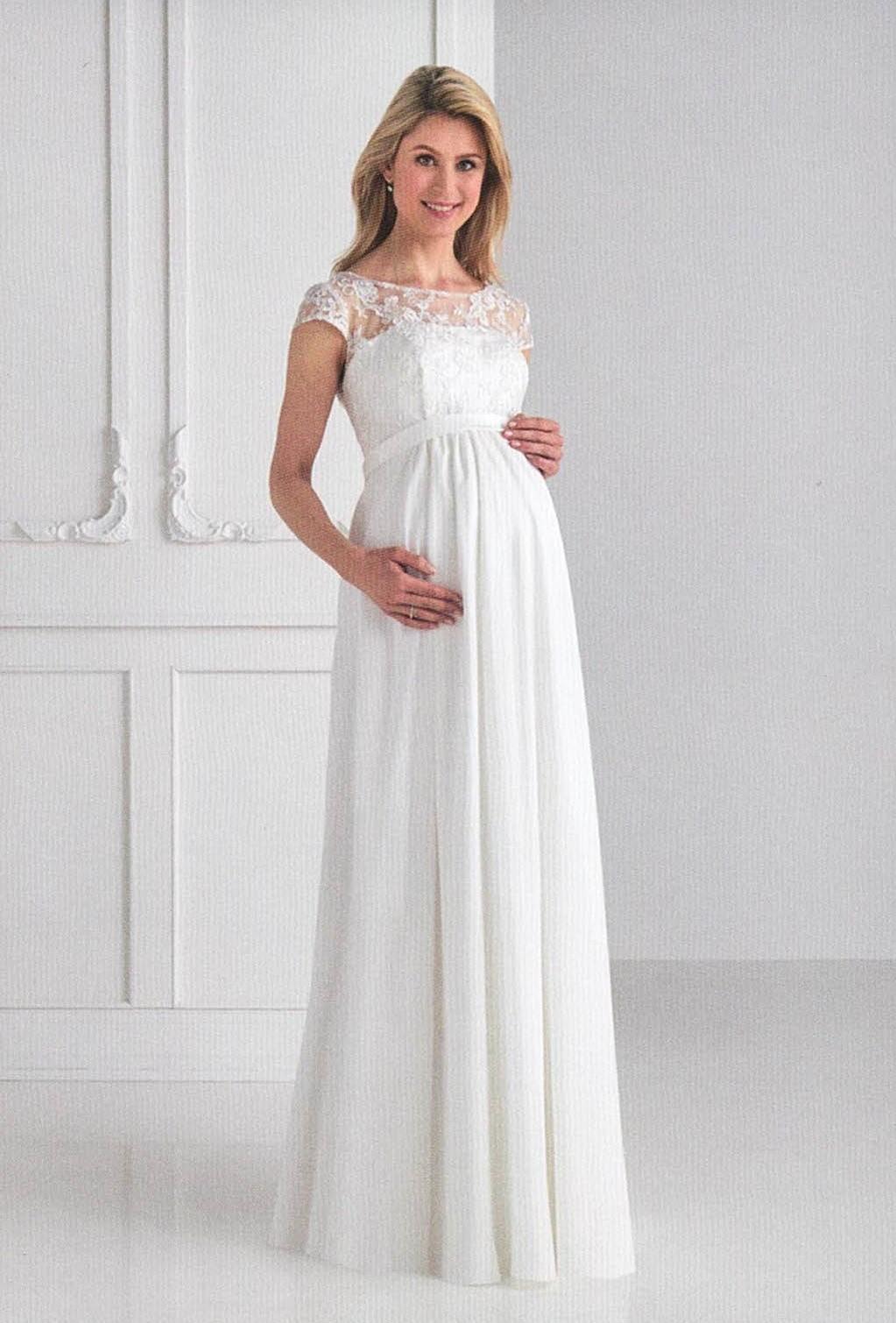 Brautkleider Hochzeitskleider Mode für schwangere langes jugendliches Kleid mit Spitze und kleiner Ärmel hoch geschlossen