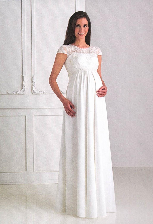 Brautkleider Hochzeitskleider Mode für schwangere langes jugendliches Kleid mit Spitze und kleiner Ärmel