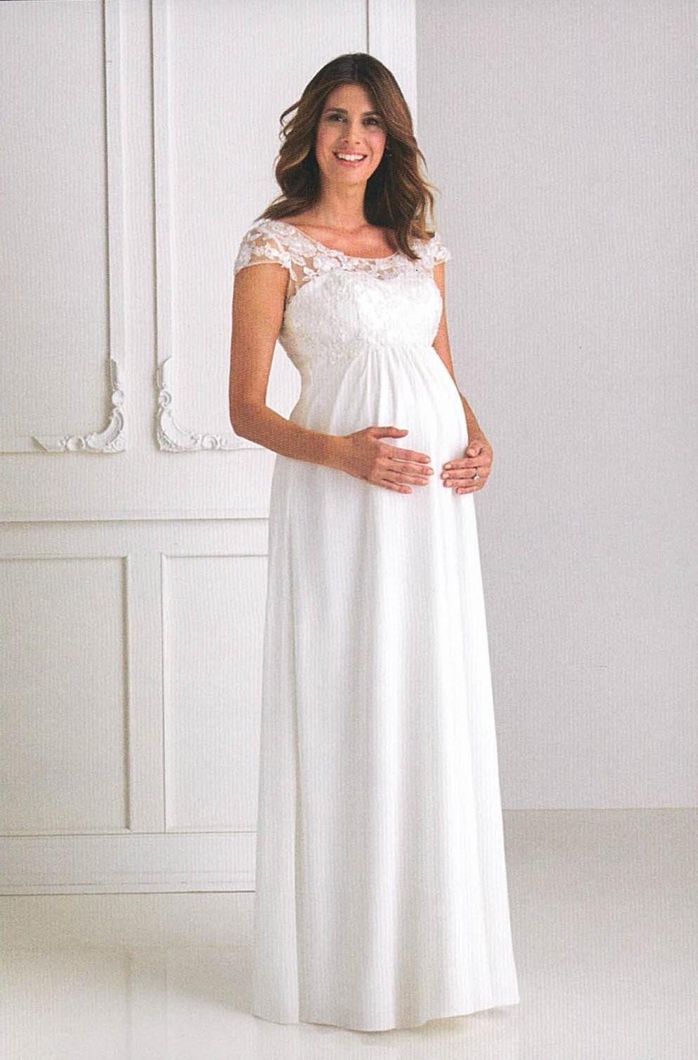 Brautkleider Hochzeitskleider Mode für schwangere langes Kleid mit Spitze und kleiner Ärmel weitem rundem Auschnitt