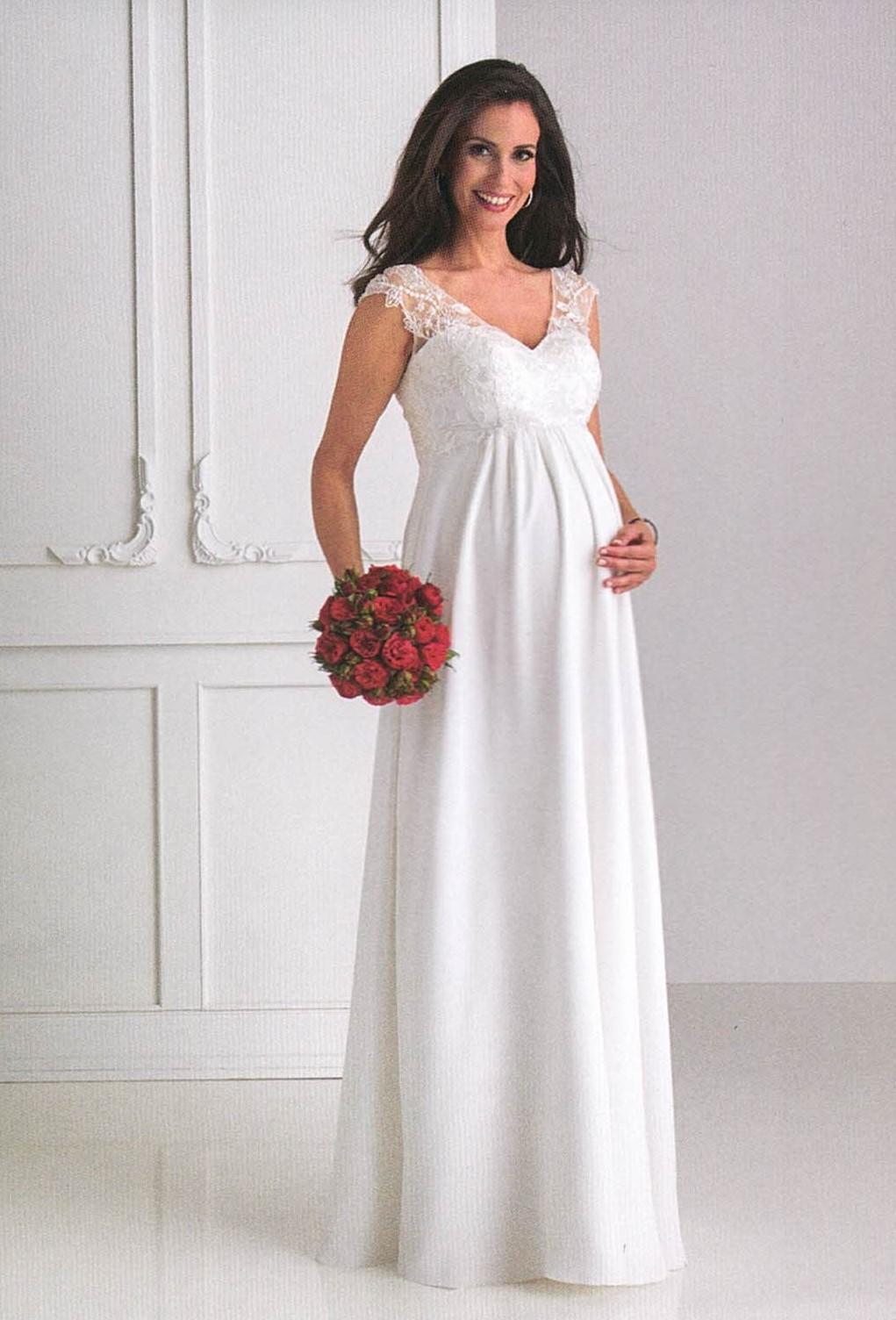 Brautkleider Hochzeitskleider Mode für schwangere langes Kleid mit Spitze ohne Ärmel und V-Ausschnitt