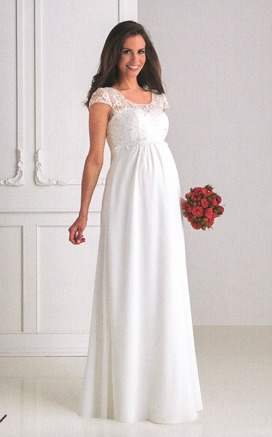 Brautkleider Hochzeitskleider Mode für Schwangere. Langes Kleid mit Spitze und kleinem Ärmel, runder Halsauschnitt