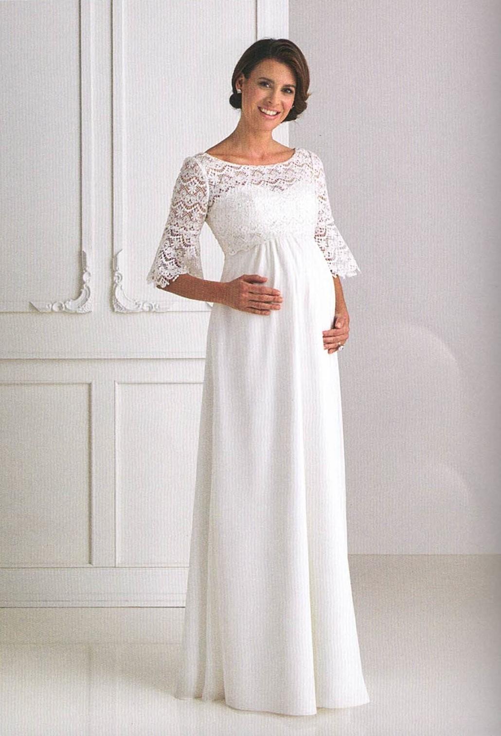 Brautkleider Hochzeitskleider Mode für schwangere langes Kleid mit Spitze und halbem Ärmel