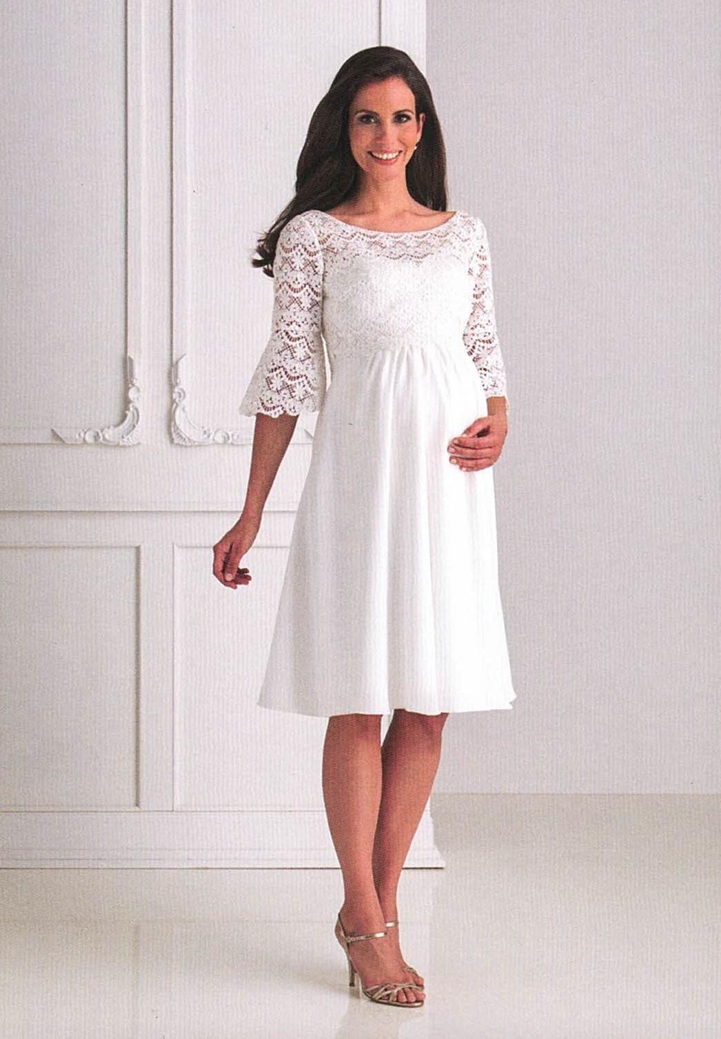 Brautkleider Hochzeitskleider Mode für schwangere kurzes Kleid mit Spitze und halbem Ärmel