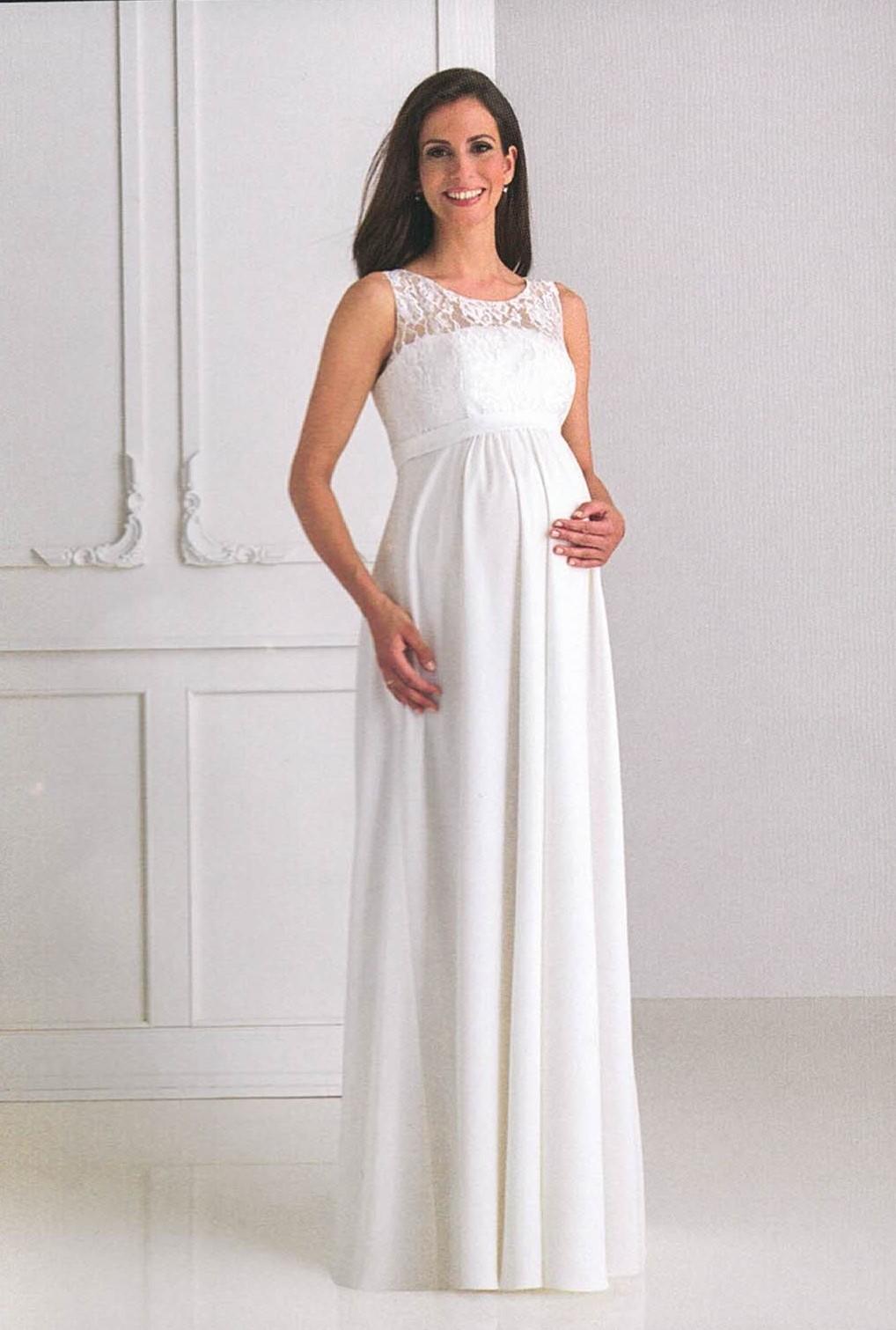 Brautkleider Hochzeitskleider Mode für schwangere langes Kleid mit Spitze ohne Ärmel und runder Ausschnitt