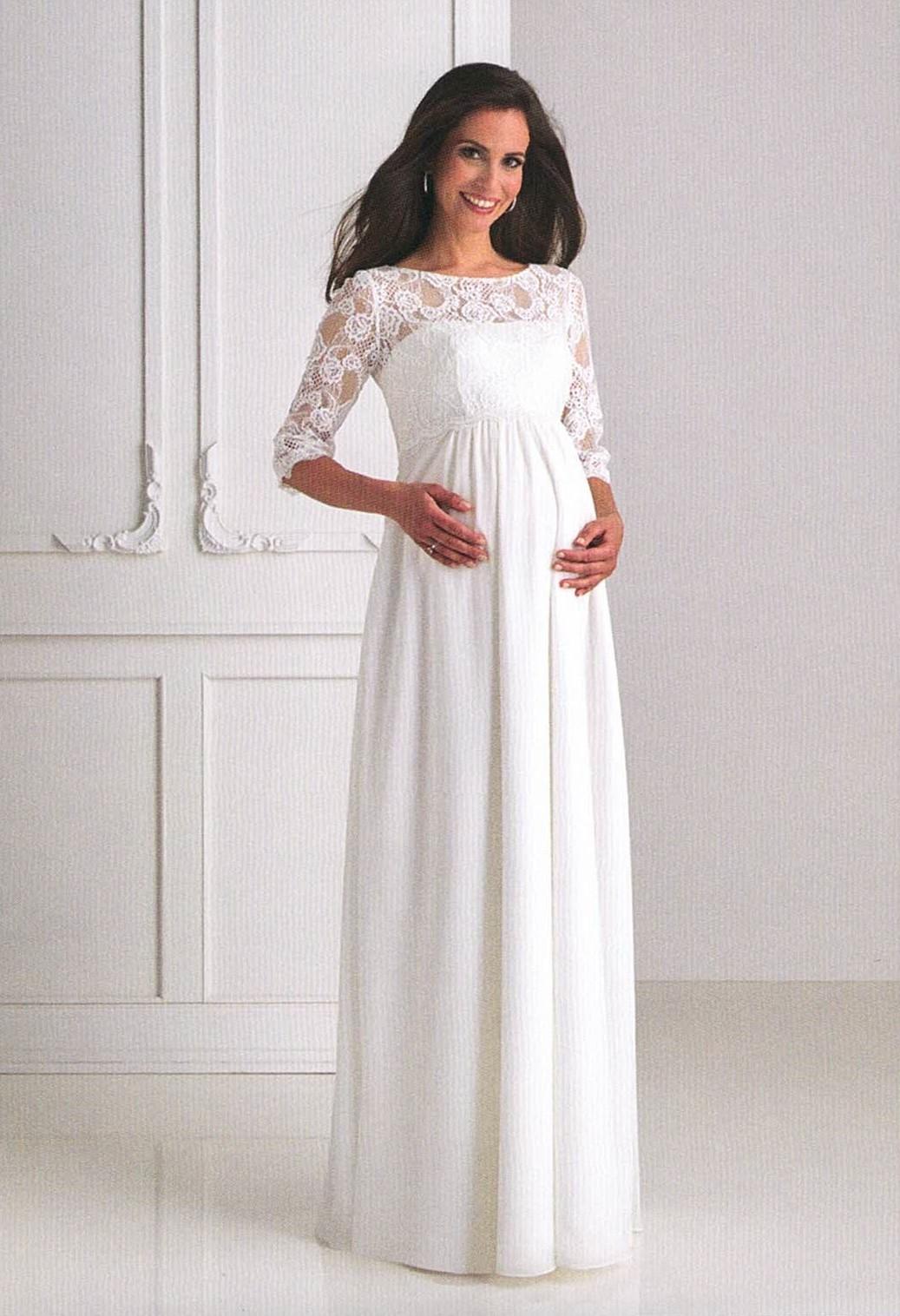 Brautkleider Hochzeitskleider Mode für schwangere langes Kleid mit Spitze und langem Ärmel