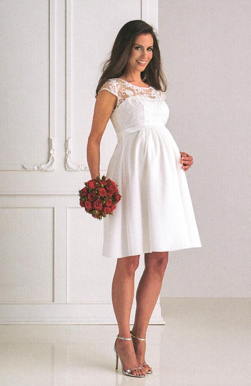 Kurzes Brautkleid für Schwangere. Hochzeitskleider und Brautmode für Schwangere: kurzes Umstands-Brautkleid mit Spitze und kleiner Ärmel