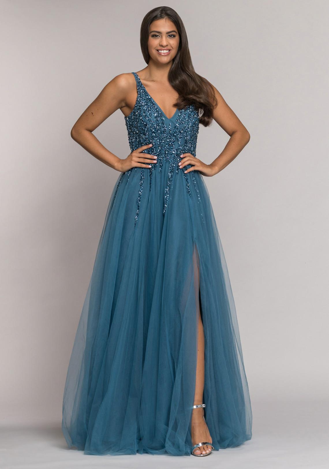 Abiball Abendkleider Ballkleider lang schön ausgefallen V Ausschnitt glitzer jung Tüll Rock Koehlert Modell ice blue mit Schlitz