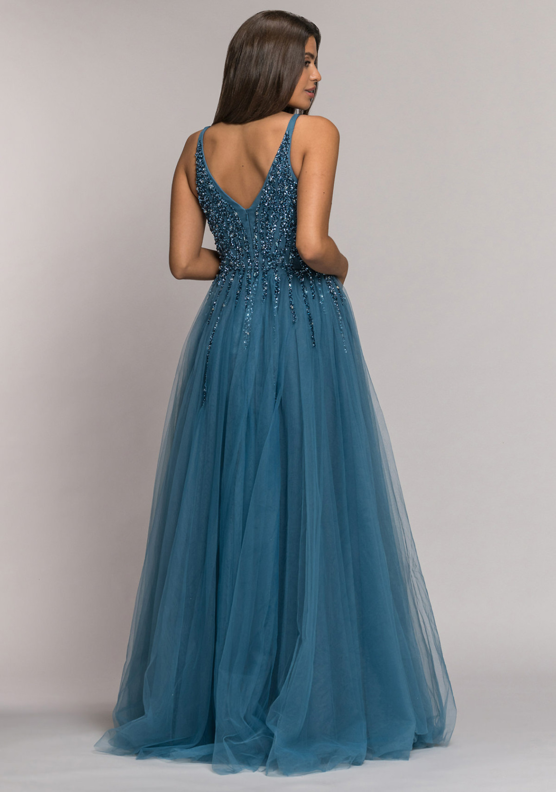 Abiball Abendkleider Ballkleider lang schön ausgefallen V Ausschnitt glitzer jung Tüll Rock Koehlert Modell ice blue hinten