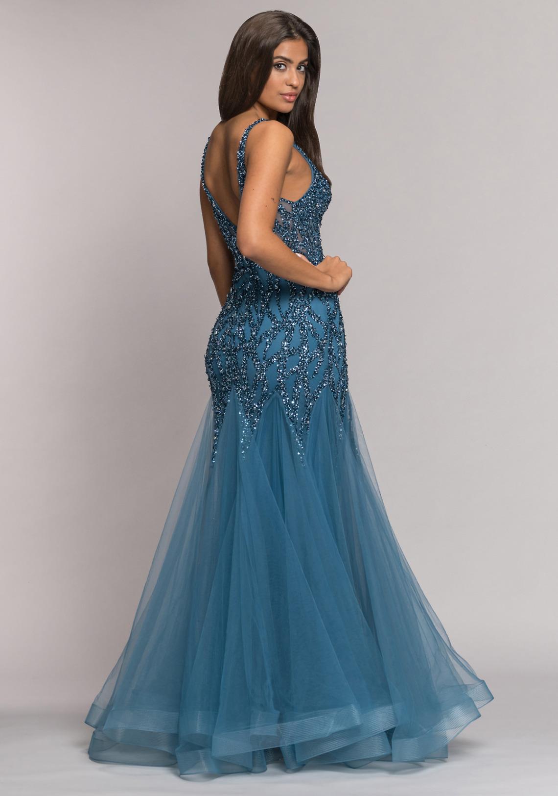 Abiball Abendkleider Ballkleider lang schön ausgefallen V Ausschnitt glitzer jung Tüll Rock Koehlert Modell ice blue seitlich