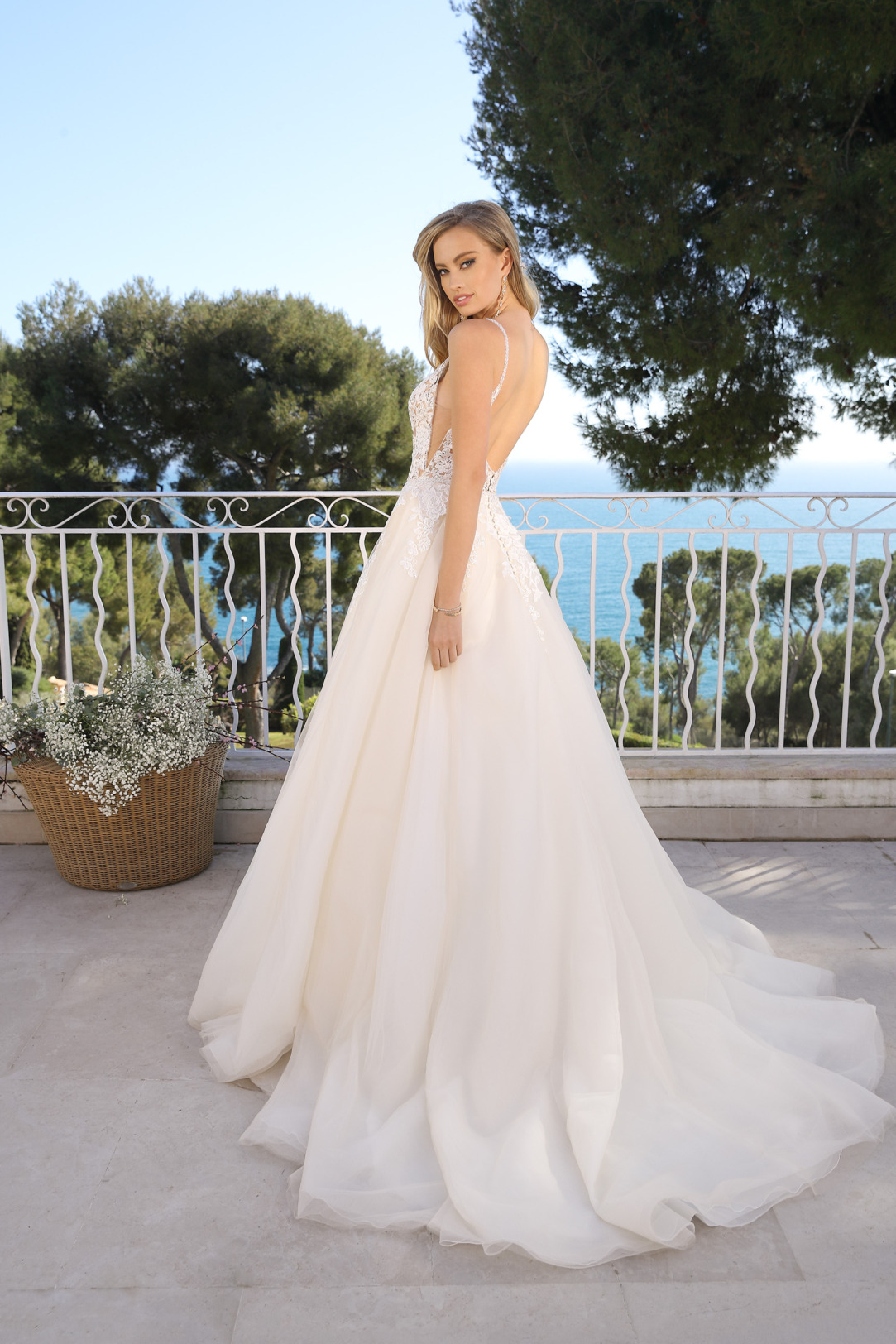 Rückenansicht Brautkleid in A-Linie mit V-Ausschnitt in Kleid in der Farbe light pink rose. Hochzeitskleid in A Linie von Ladybird Modell 421011. Hochzeitskleid mit V-Ausschnitt und schmalen Trägern, transparente Spitzte in light pink rose