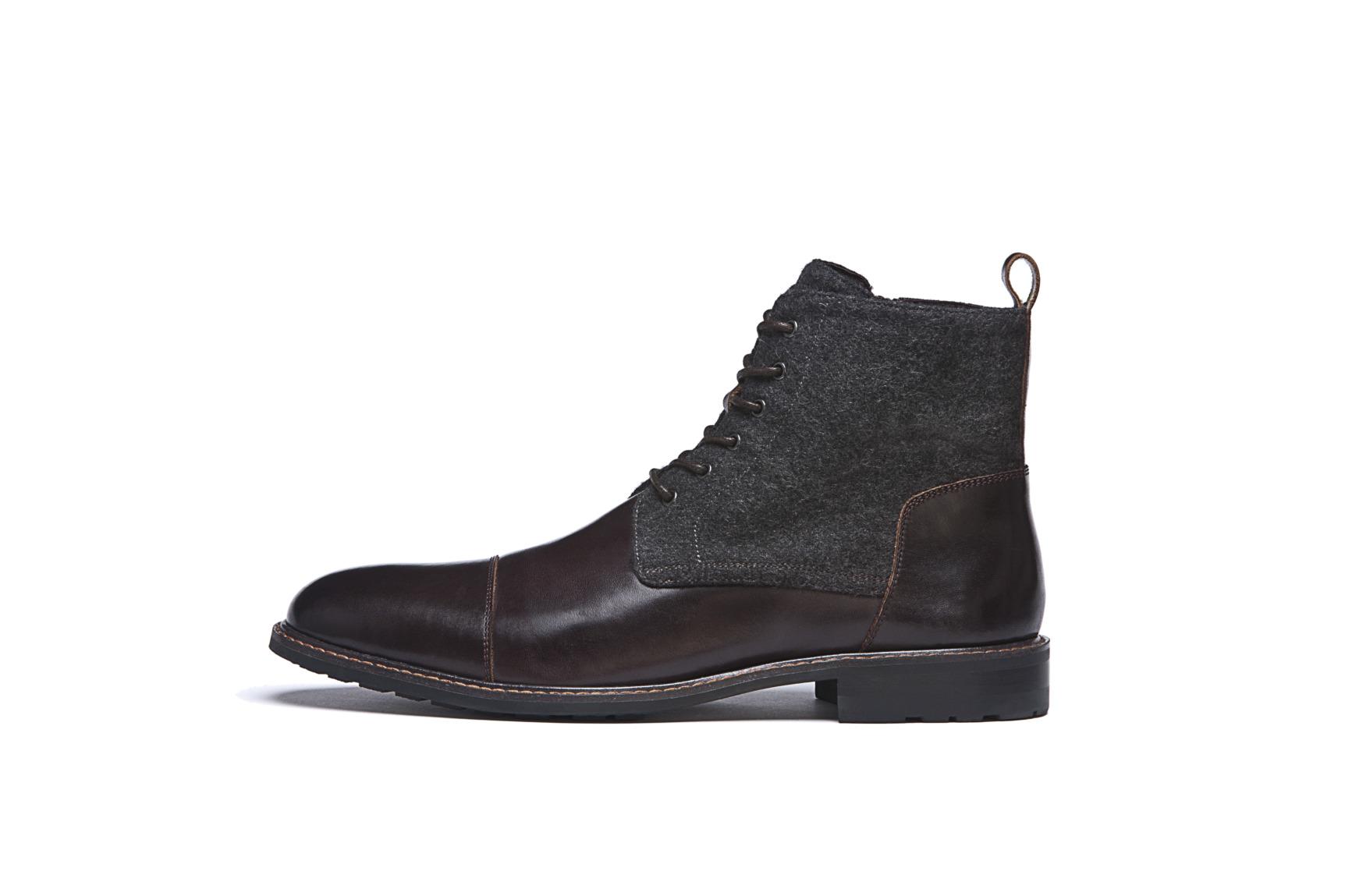 Modische Schuhe für den Bräutigam von Digel Modell SHOWMASTER halbe Stiefelette mit Stoffeinsatz in dunkelbraun