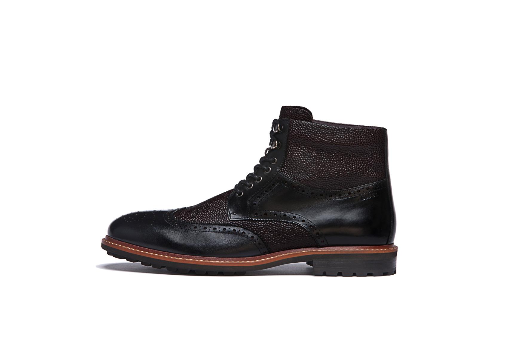 Modische Schuhe für den Bräutigam von Digel Modell SPENCER halbhohe Stiefellette in der Kombination von braun und schwarz mit Ziernähten und Reptiloptik