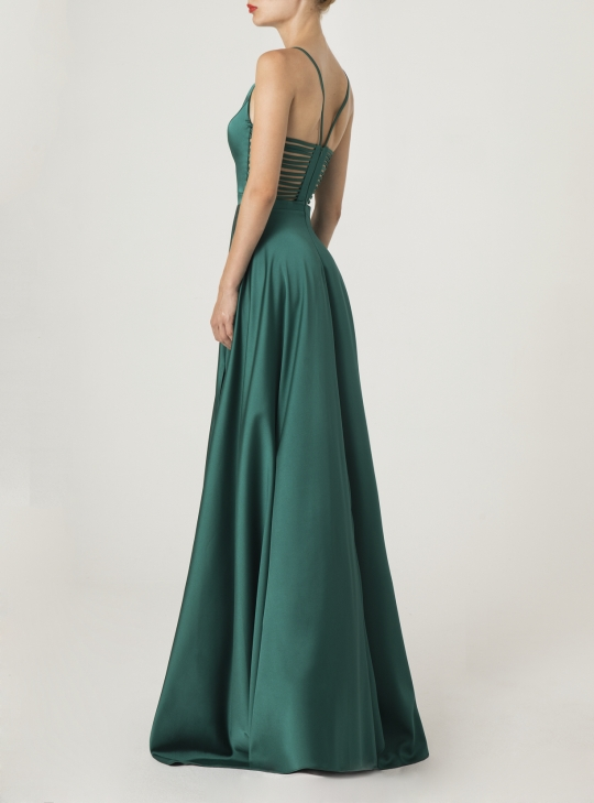 Smaragdgrünes Satin Abiballkleid lang. Traumhaft elegant und sexy
